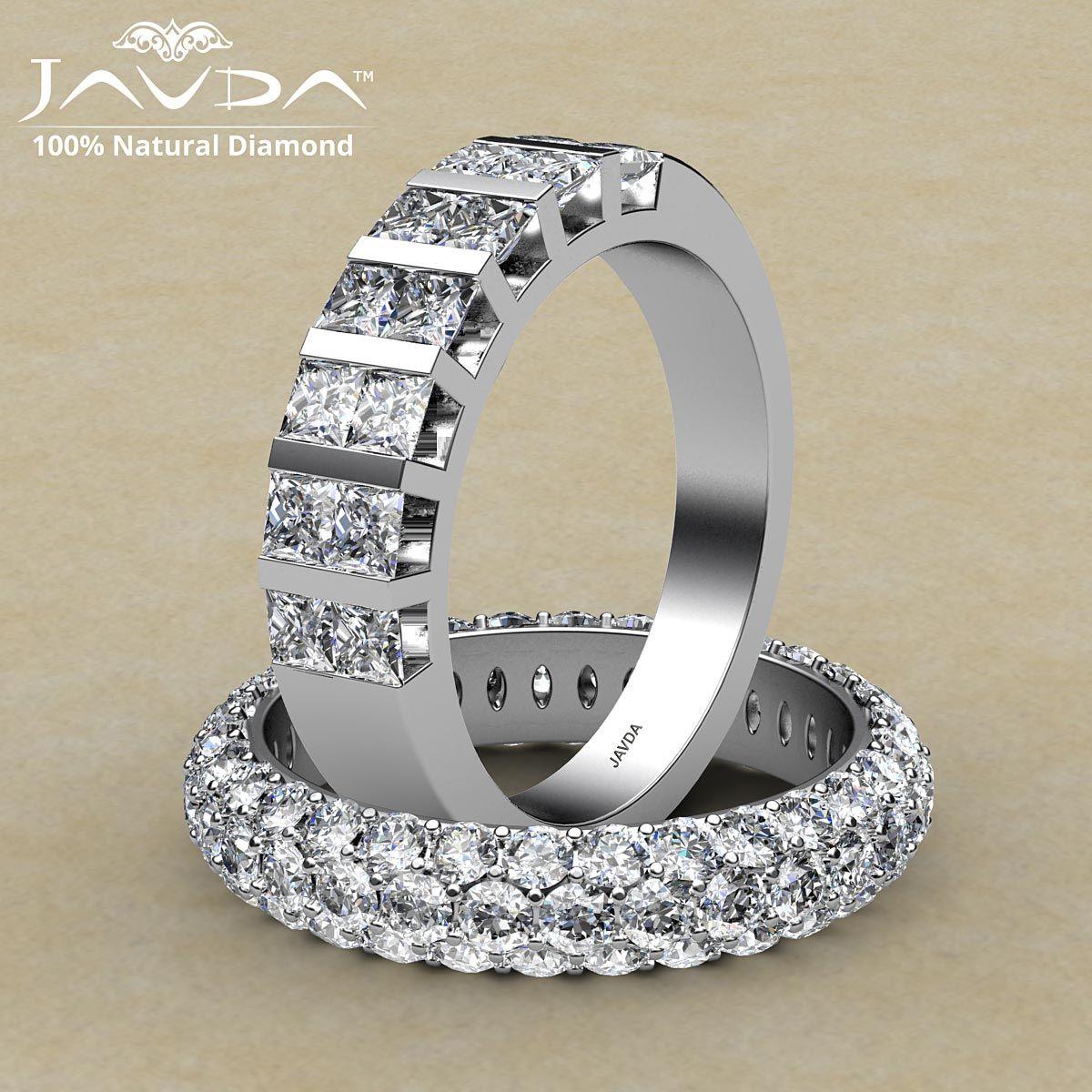 Princess & round diamond pave bar set women's eternity