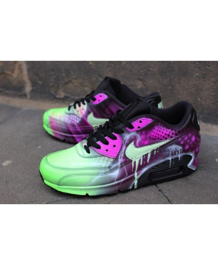 43d035c5b1d0 Chaussure Nike Air Max 90 Candy Drip Rose Art Abstrait Airbrush Graffiti