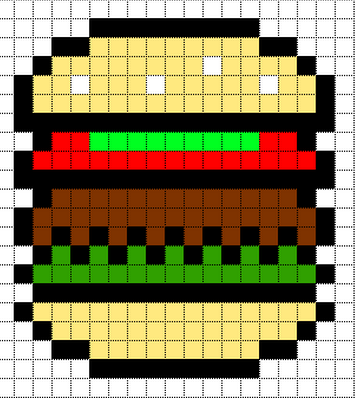 Burger Minecraft Pixel Art Pixel Art Templates Pixel Art