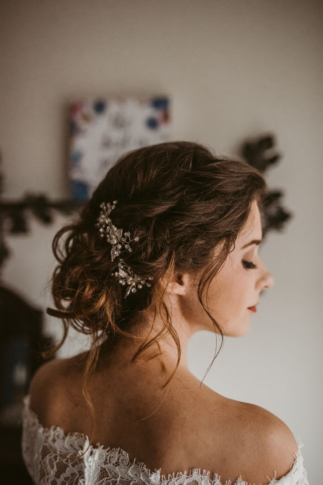 wedding hairstyles, loose romantic updo, loose braids, crystal and