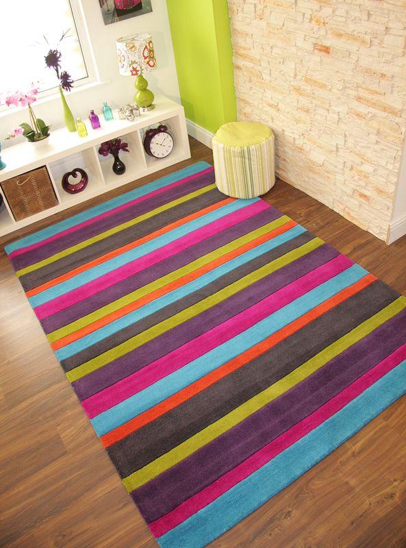 Colourful Pink Orange Blue Green Purple Modern Stripe Handmade Thick Wool  Rug UK