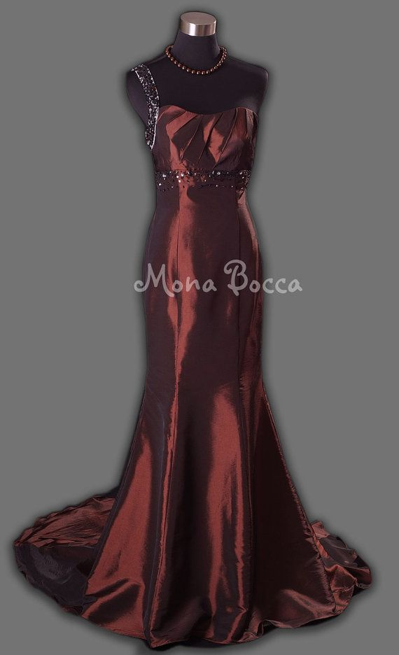 Brown one shoulder art deco Prom ball gown prom dress by MonaBocca ...