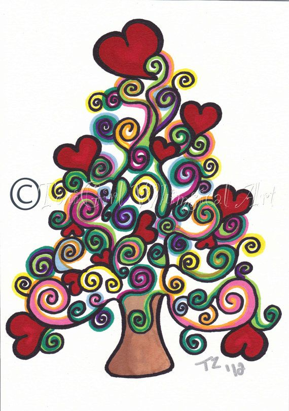Christmas Tree Drawing 8x10 Print Christmas Whimsy Tree White Wall Decor Holiday F With Images Christmas Tree Painting Tree Drawing Whimsical Christmas Trees
