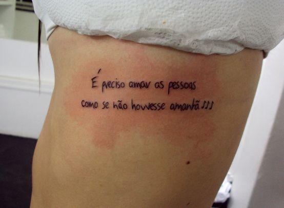 Tatuagem Escrita Frases Costela Tattoo Writing