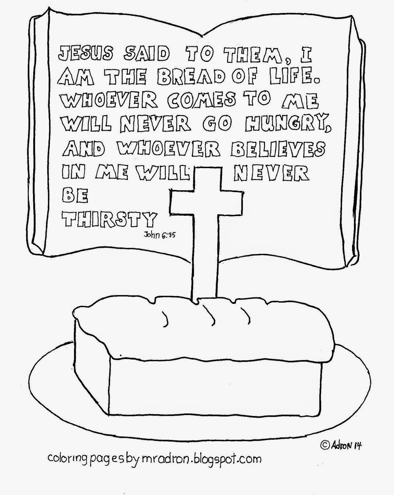 I Am The Bread Of Life Free Coloring Page Bible Stories For