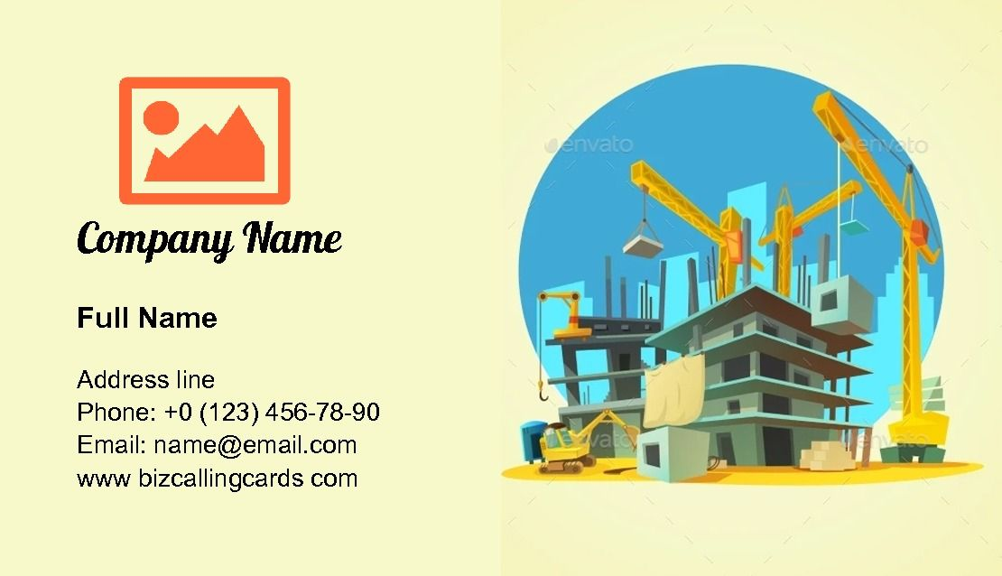 Create Online Building Crane And Excavator Business Card Template