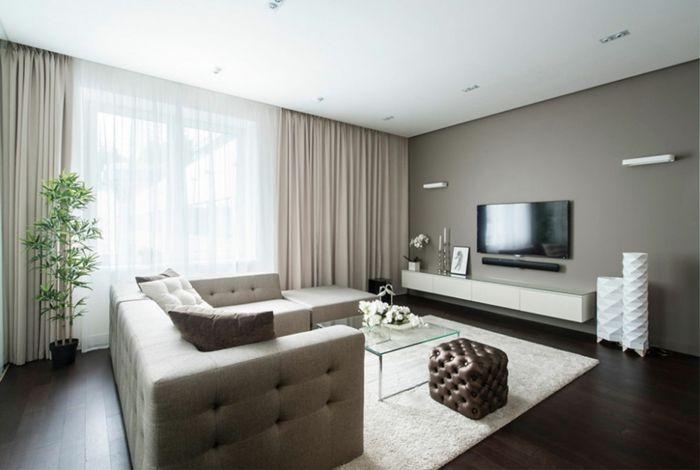 Wunderbar Wohnzimmerteppich Gebrochenes Weiß Glastisch Topfpflanze