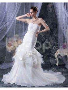 Yarn Satin Strapless Cathedral Train Mermaid Wedding Dress with Beaded Ruffle