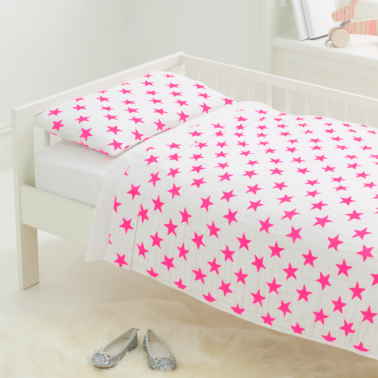 Toddler Bed In A Bag In Pink Fluro Stars Big Girl Rooms