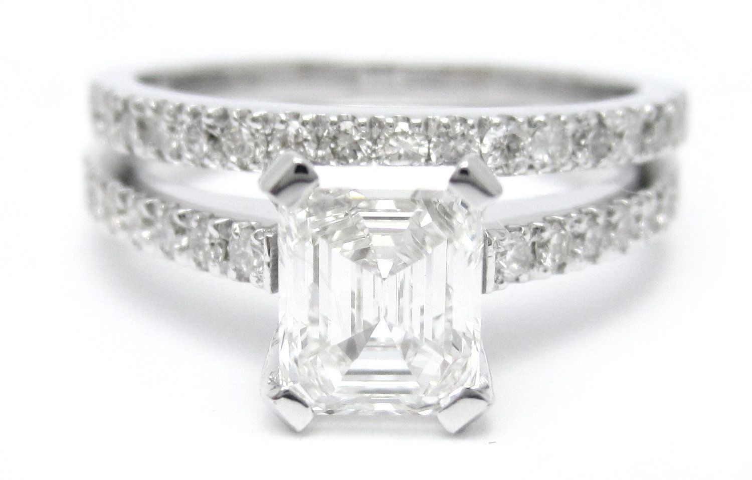 1 40ctw EMERALD cut novo inspired diamond engagement ring and matching weddin