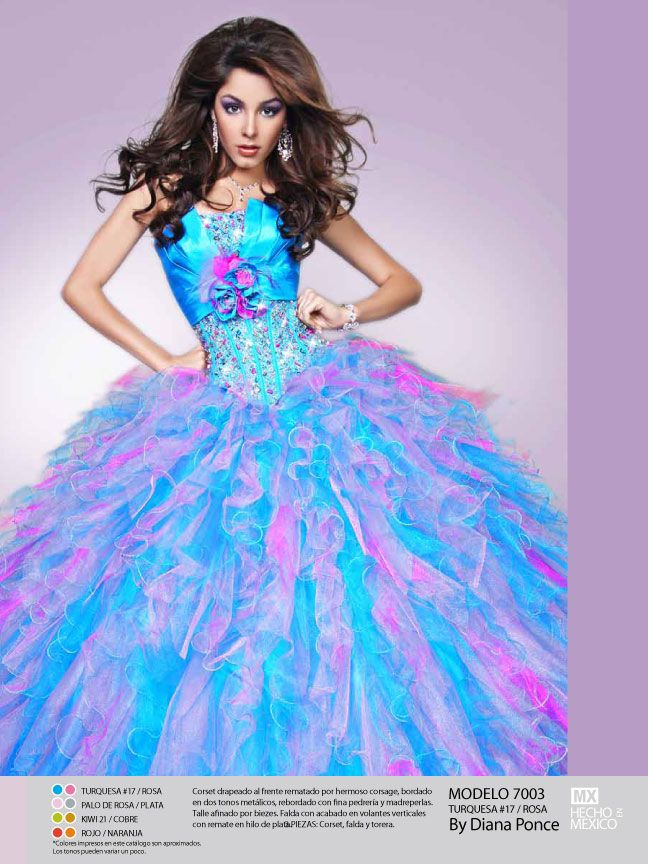 Exquisite ball gowns strapless floor-length blue and hot pink ...