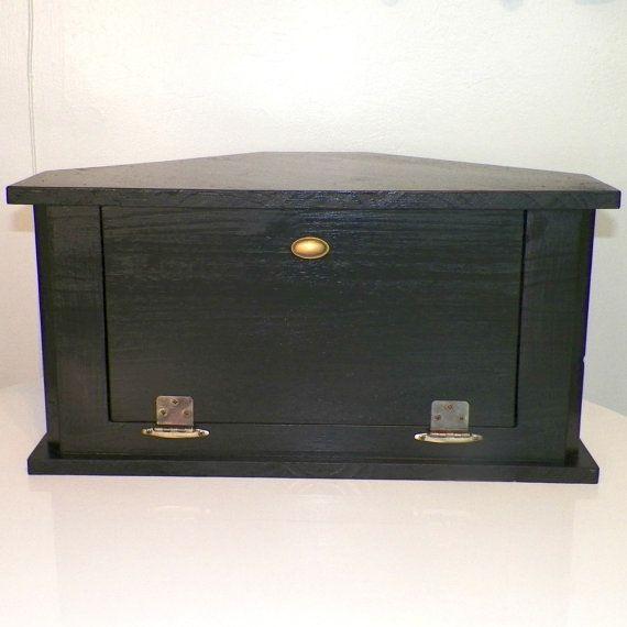 Corner Wood Bread Box Black Retro Style by ...