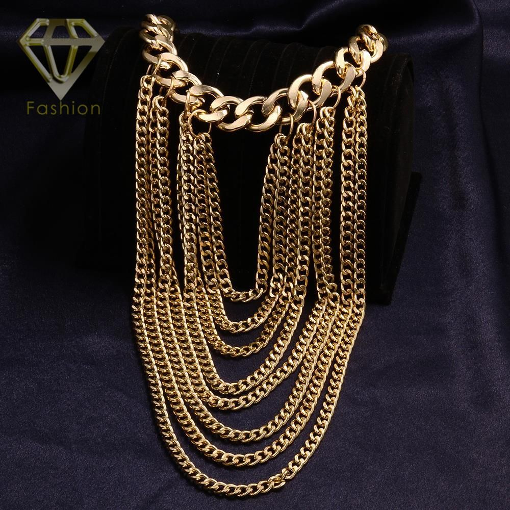Fashion gold color metal tassel chokers necklaces long tassel chain