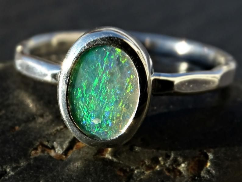 peruvian blue opal ring w hammered sterling silver or 14k gold band Libra choose metal alternative engagement ring custom sizes