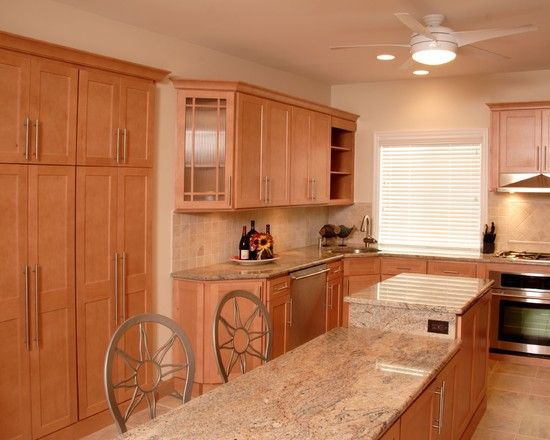 I LIKE THIS ONE: Maple cabinets, light granite | Kitchen ... on Maple Cabinets With Granite Countertops  id=18412