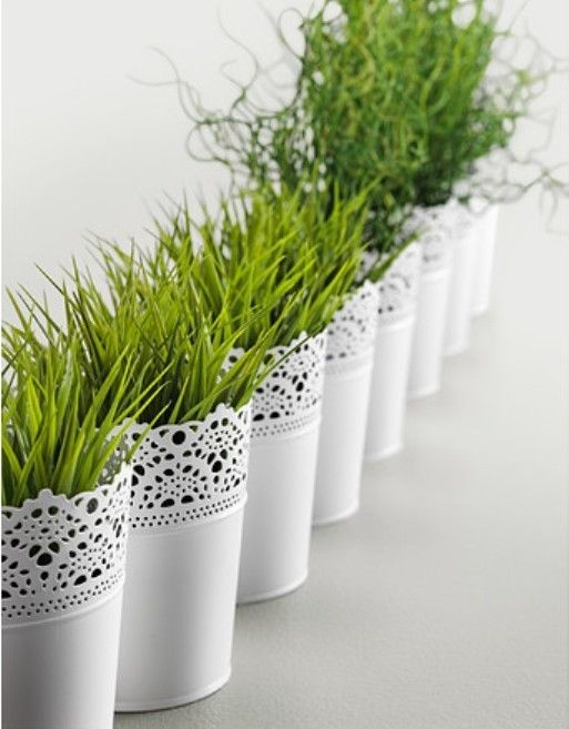 IKEA Artificial Green Grass Potted Fake Plant +Off White Pot ...
