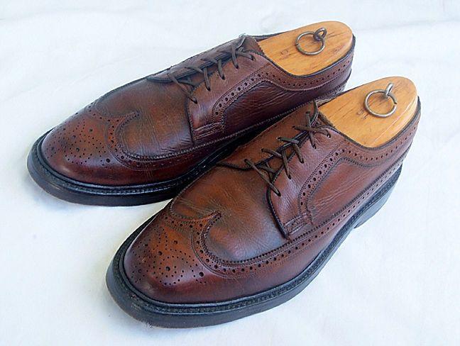 cad2ed65d0c6c VINTAGE FLORSHEIM IMPERIAL Brown Leather Wing Tip Oxfords - Men's ...