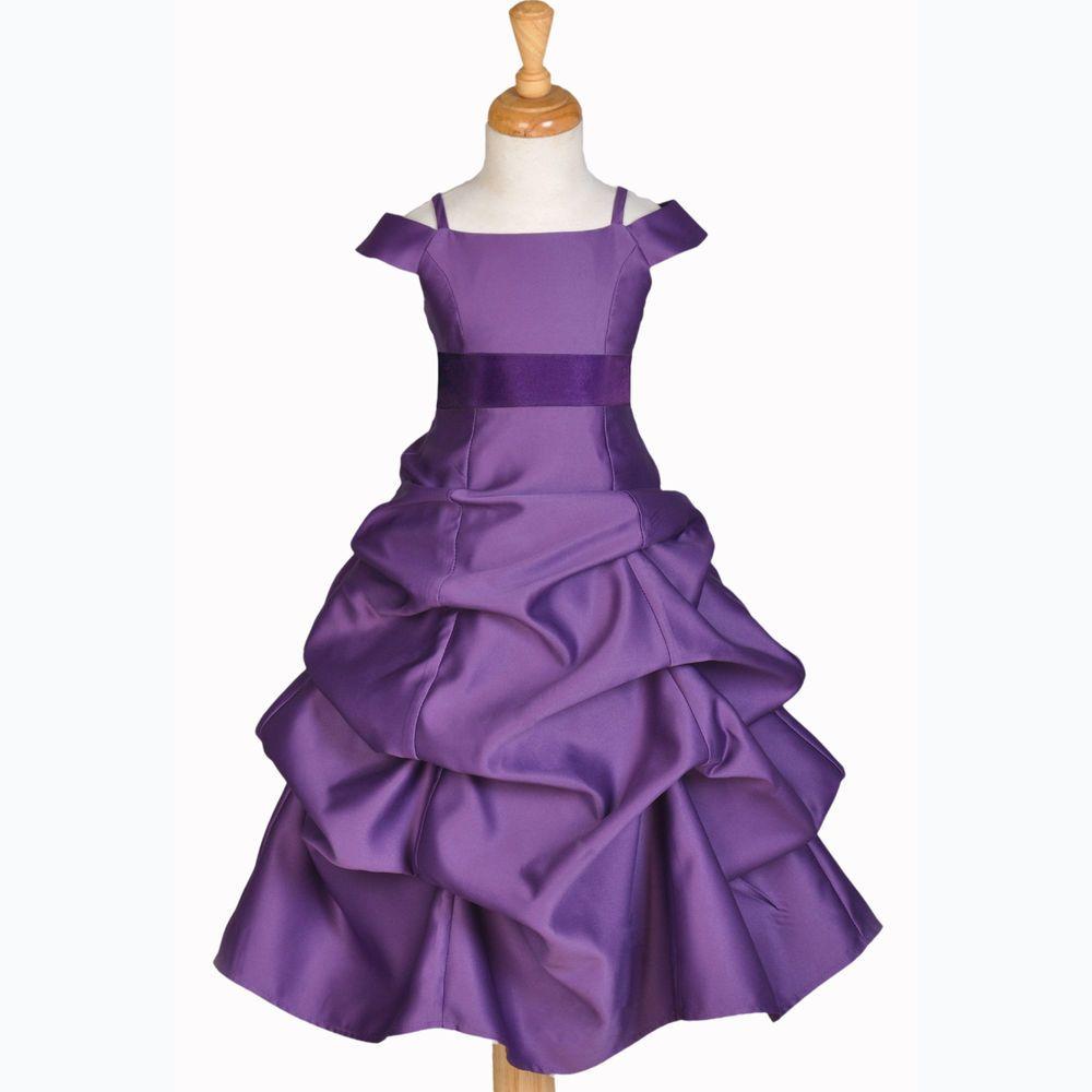 844s plum purple pageant flower girl dress 22t 33t 44t