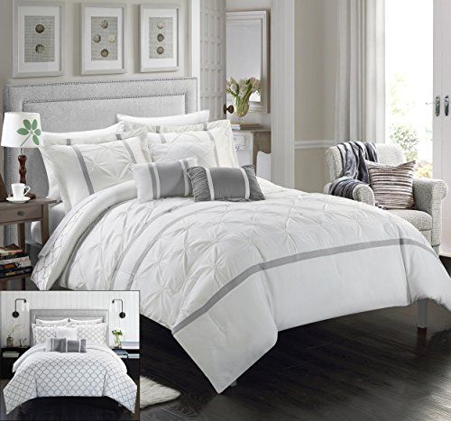 Chic Home 10 Piece Dorothy Pinch Pleated Ruffled and Reve…