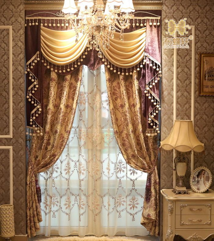 Best 3d scenery blackout curtains online palace garden - European style curtains for living room ...