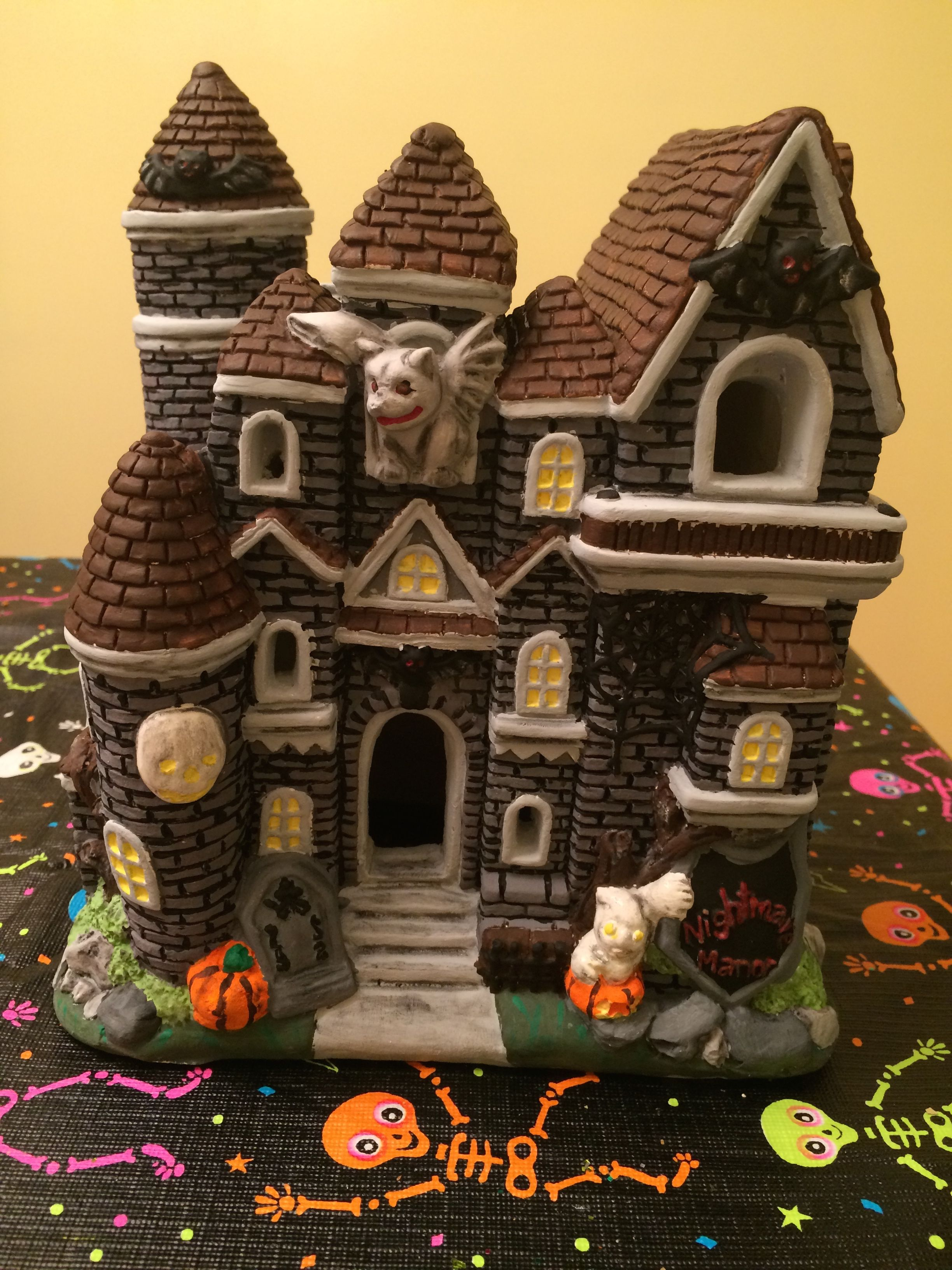Ceramic Haunted House, Painted Ceramic, Halloween 2014