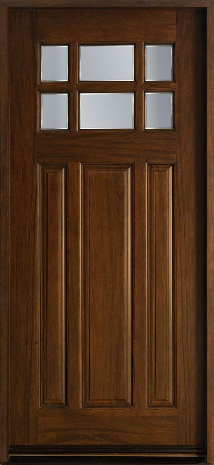 Entry Door In Stock Single Solid Wood With Walnut Finish