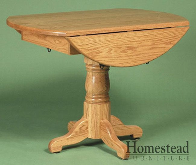 Delightful Round Country Pedestal Drop Leaf Dining Table By Homestead Furniture Made  In Amish Country.