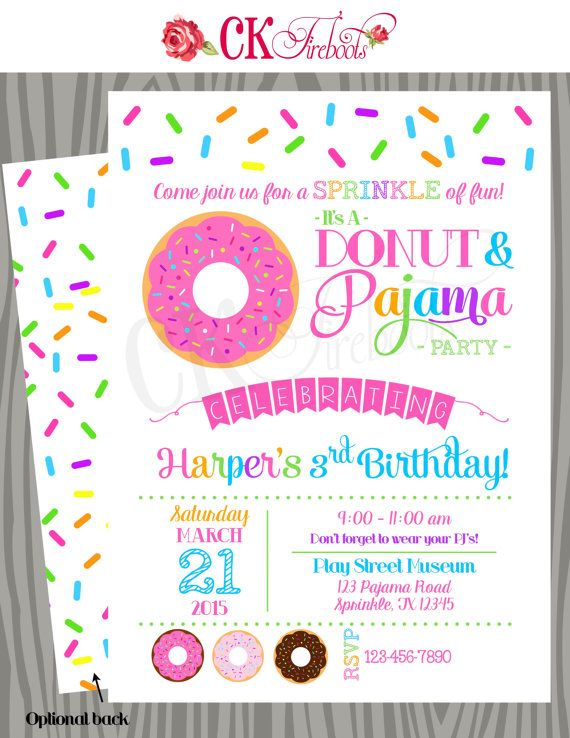Donuts And Pajamas Sprinkle Fun Birthday Invitation Baby Shower Invite Donut