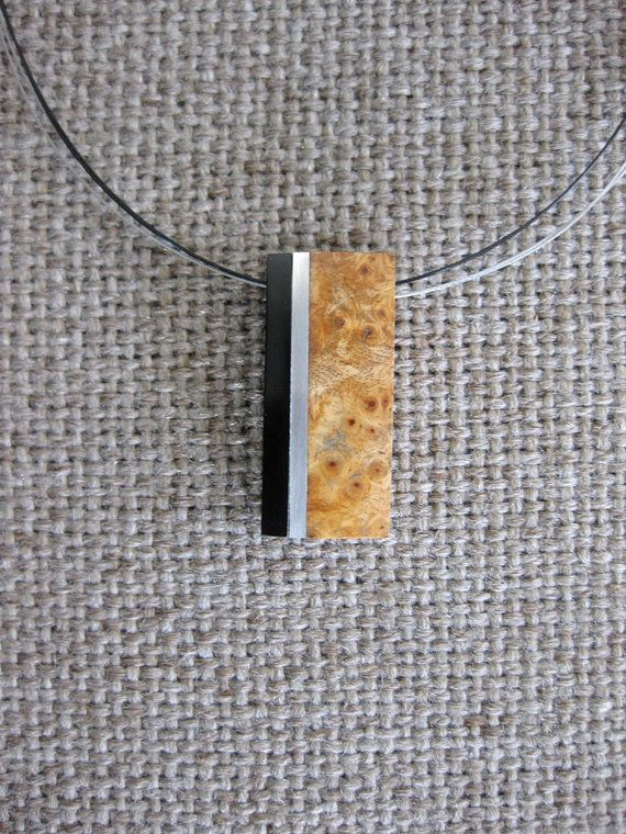 Fine #necklace  made of Exotic burl wood, buffalo horn and aluminum.   height - 1. 4/8 inches / 39 mm  width - 5/8 inches / 15 mm  weight - 15 gr  Materials utilised  Exotic... #pendant #artpendant #artnecklace #artwood