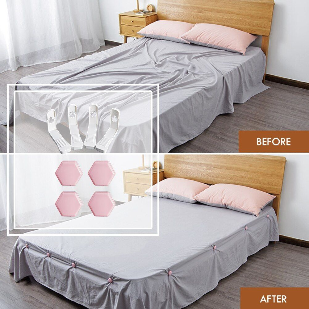 Best Adjustable Fitted Bed Sheet Corner Straps Clips Holders Grippers Set In 2020 Best Bed Sheets Bed Sheets Fitted Bed Sheets
