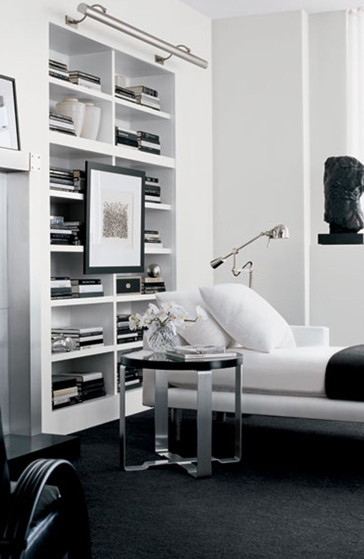 Ralph Lauren Home pairs minimalist decor with a sleek bookcase and ...