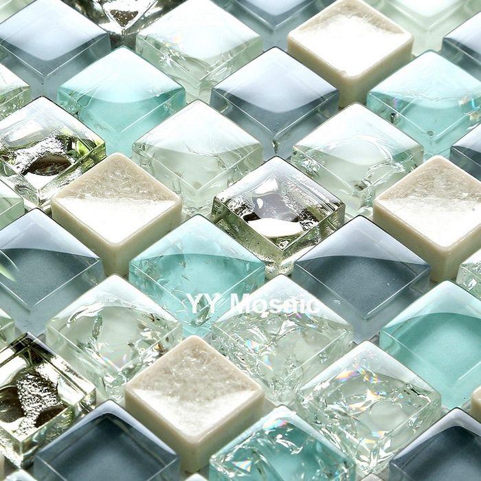 Cheap Mediterráneo Azul Blanco Gris ducha backsplash de la Cocina de ...