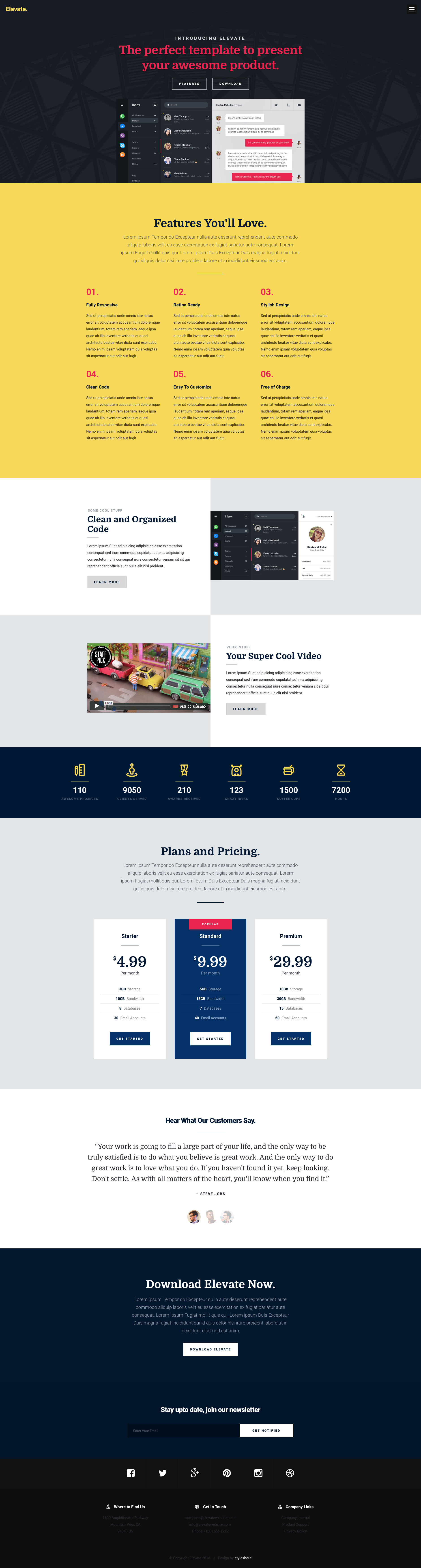 Elevate Free Responsive Html5 Landing Page Template It Has A Modern And Clean Retina Ready Design That Makes It An Ideal Landi Html5 landing page template free