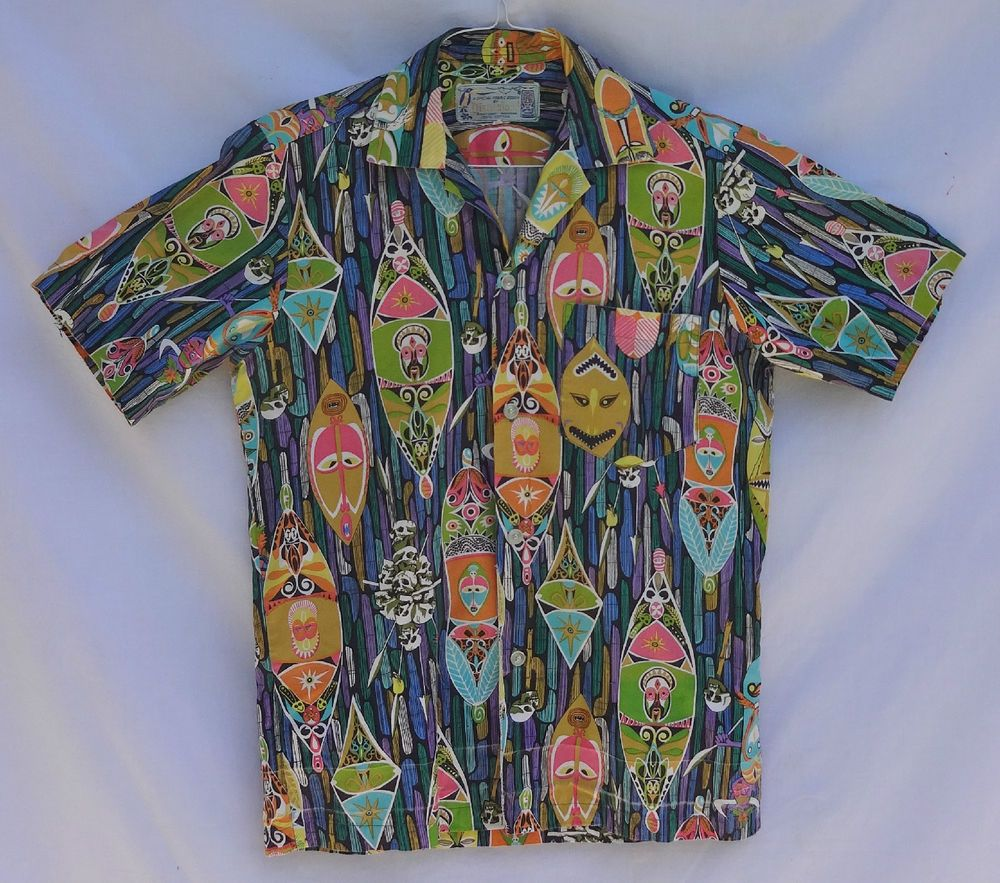 e0e4b28a 1940 s 1950 s 1960 s Hawaiian Aloha Shirt. Disneyland. Disney Productions.  Tiki.