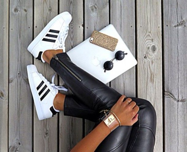 shoes adidas superstar trainers sneakers sportswear black white cuir  sunglasses watch 9d449f3dab