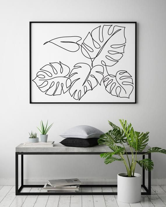 Monstera plant printable line art, Tropic leaves print, Abstract botanic wall decor, Minimalist art, -   13 minimalist planting Art ideas