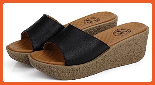 11efbe064a3d0 Women's Platform High Heel Wedges Sandals Simple Sippers (5.5, Black ...