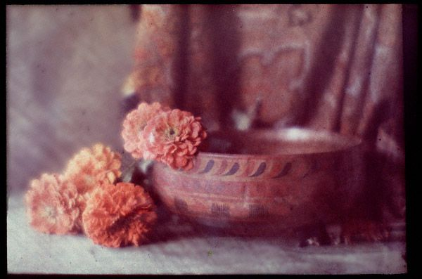 Autochrome: George H. Seeley. Still Life with Bowl and Flowers. c. 1915.