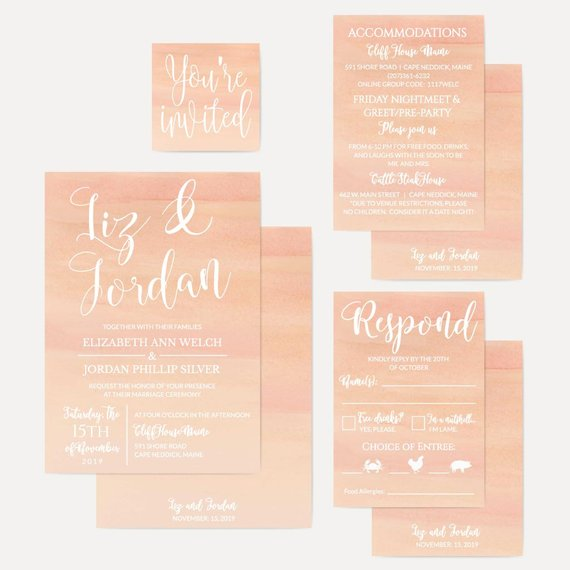 Peach Watercolor Ombre Wedding Invitations Suite Custom