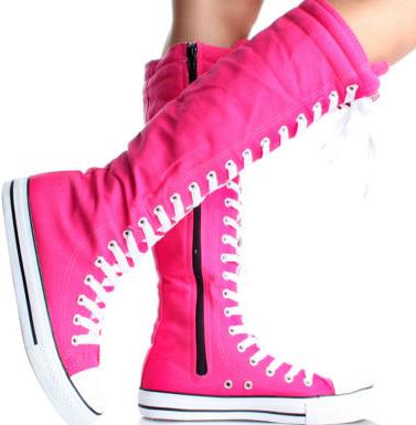 3c840cb5fdd hot pink converse-esq knee high boots................eeeewwwww!!!!!!!!!!!  never like thatt!!!!!!!!!!❤ pinkk