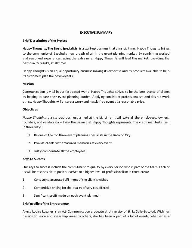 events planning business plan sample