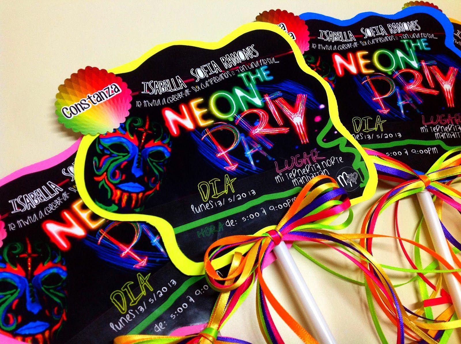 Layout Neon Party Neon Party Cards Tarjetas De Fiesta