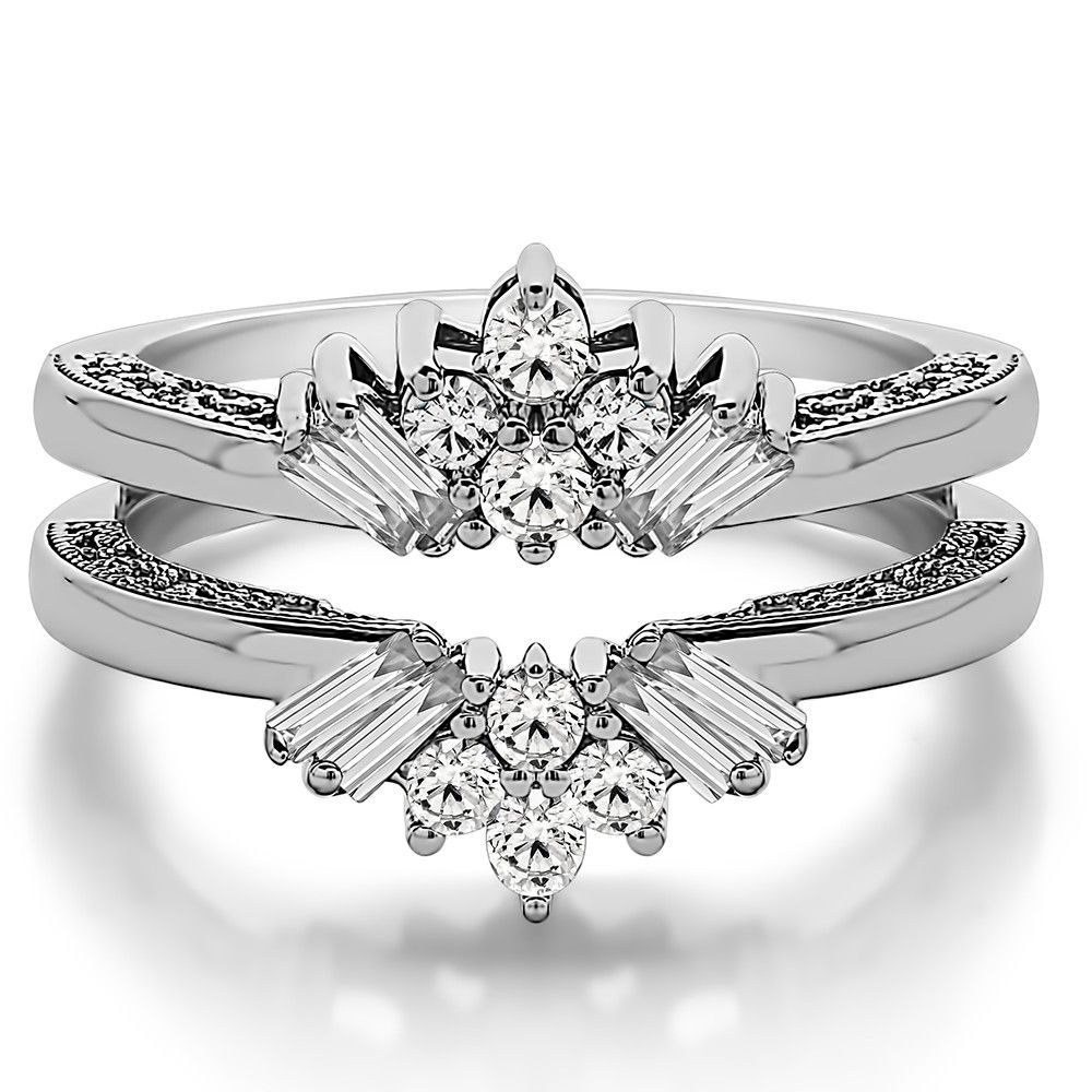 This wedding ring guard has 16 round, prong set stones