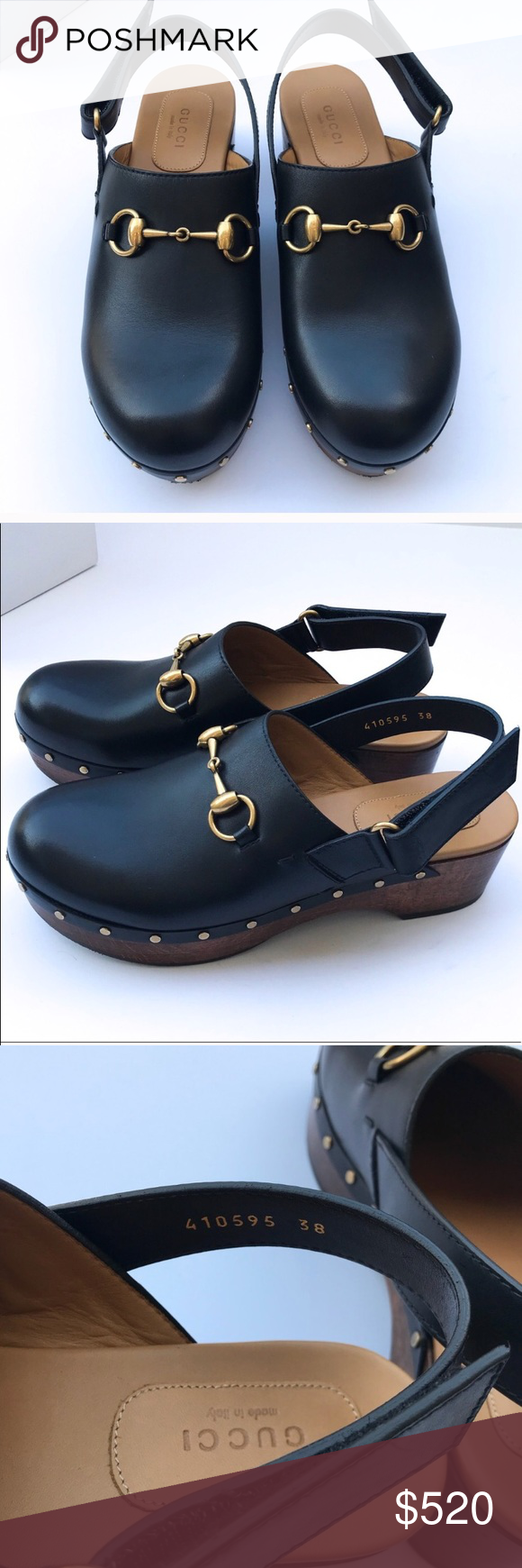2ff7a371702 Gucci Anita Black Leather Horse-bit Clogs These gorgeous clogs have been  expertly crafted in Italy from leather with a signature gold horsebit that  ...