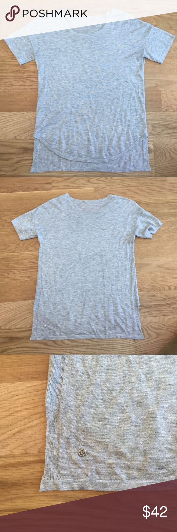 {lululemon} tee shirt Super soft! Made of a very light sweater material. Hi/low hem is very flattering on! Rare style. Note: there is some pilling on the right bottom hem. See last picture. Not noticeable when wearing. NO TRADES. I only consider offers made using the offer button. lululemon athletica Tops Tees - Short Sleeve