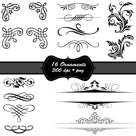Calligraphy Borders And Ornaments Clip Art Pack 5 Buy 2