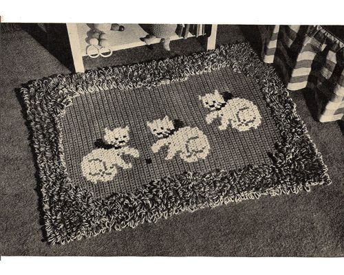 Crochet Kitten Rug Pattern -- Perhaps you remember this one from grade school :   Two little kittens, one stormy night,  Began to quarrel, and then to fight;  One had a mouse and the other had none,   And that's the way the quarrel begun.   ....   Okay, so this one has three kittens .... the poem remains the same.   http://www.mamalisa.com/?t=hes=2319