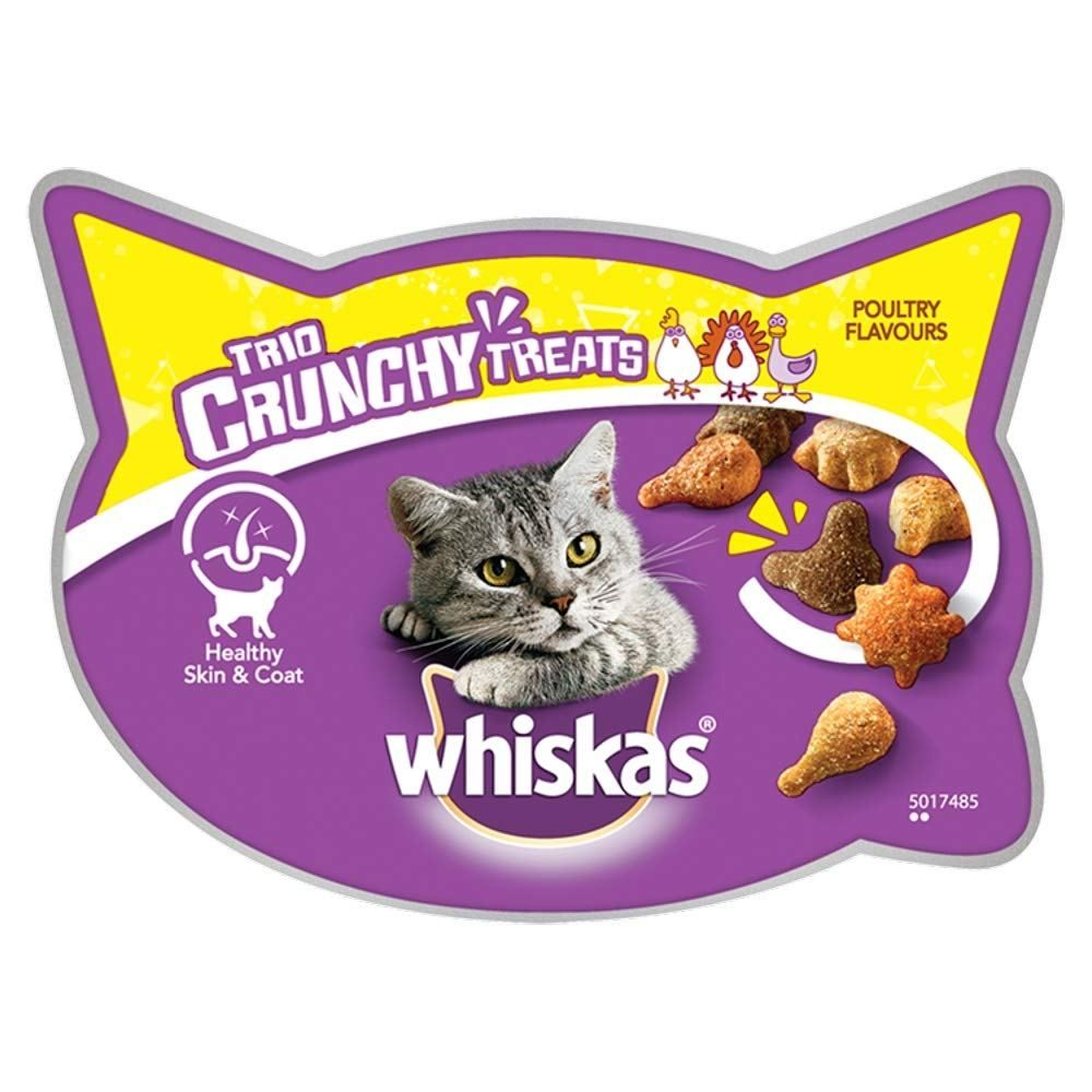 Whiskas Trio Crunchy Treats Cat Treat Poultry 8 Pots 8 X 55 G