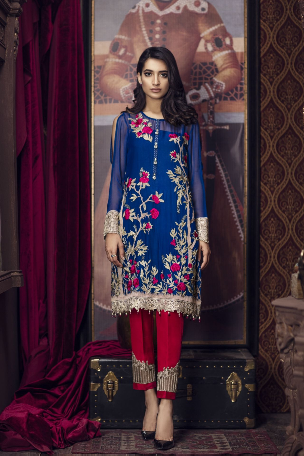 b67d0d5545d86 Ravish blue unstitched 3 piece pret dress by Imrozia Premium semi formal clothes  2018. Imrozia Premium Embroidered Chiffon Collection 2018 | PK Vogue ...