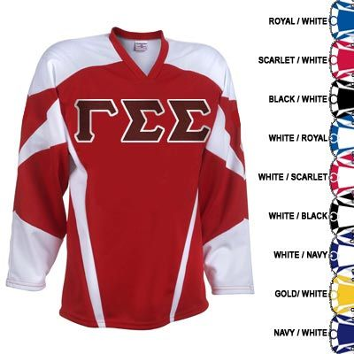 2e235448dee ... this fraternity power play hockey jersey comes with twill sewn on  letters across the front.